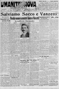 Prima pagina di Umanità Nova n. 152 del 7/10/1921. Al centro, un articolo dedicato all'affare Salsedo.