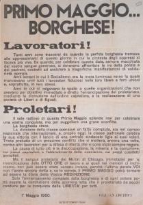 Manifesto per il 1° Maggio 1950 stampato a Trapani presso la tipografia Corrao (Archivio Biblioteca F. Serantini, Pisa)
